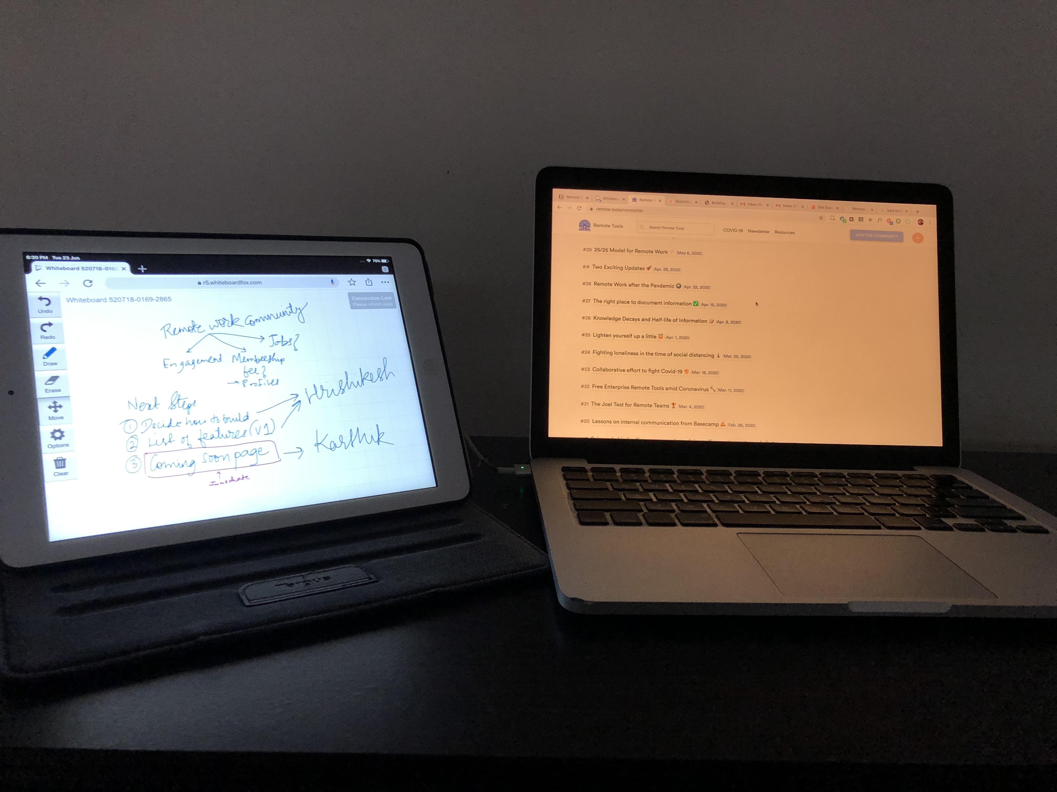 my remote whiteboard setup